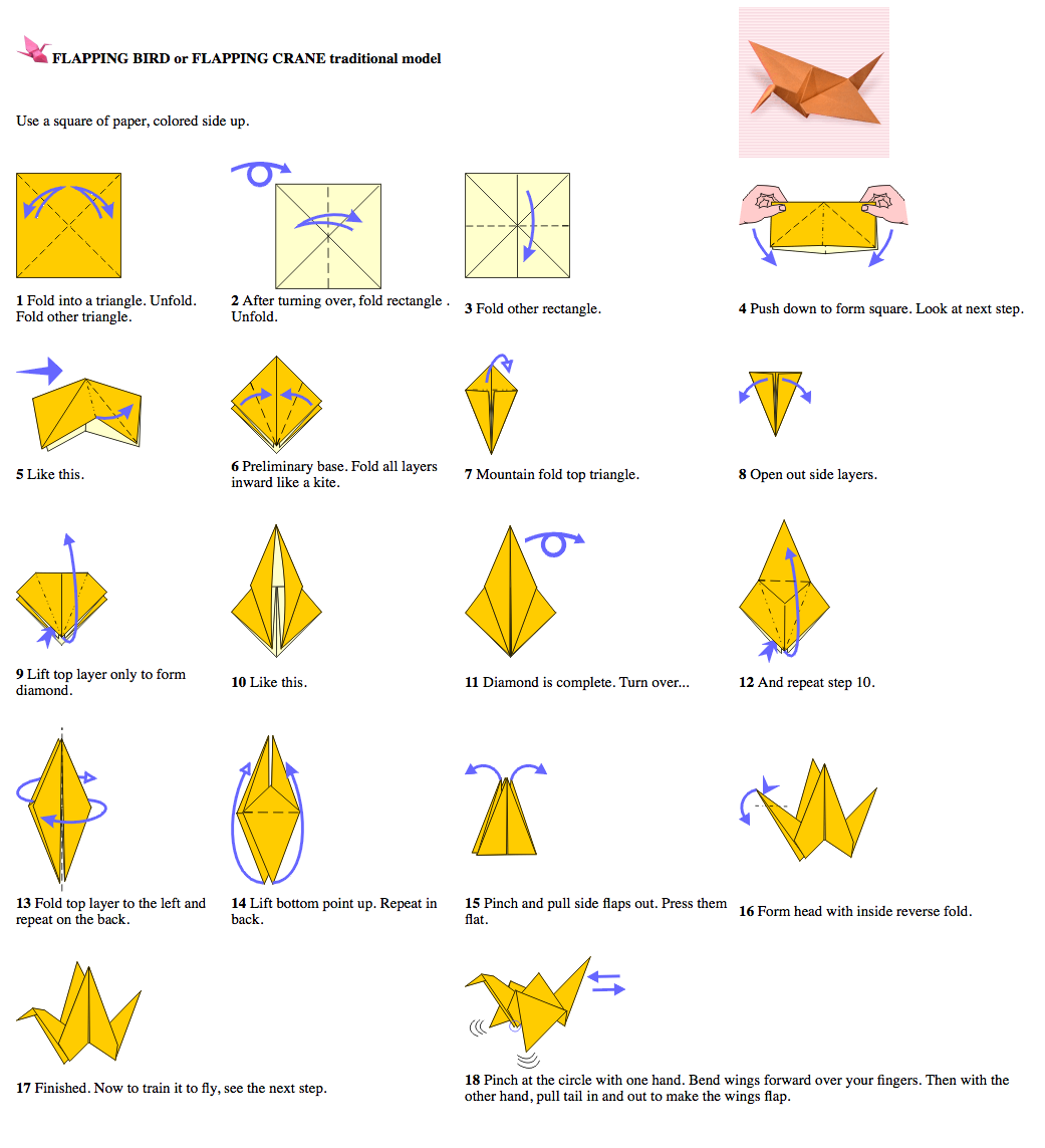 How To Make Origami Bird With Flapping Wings Step By Step